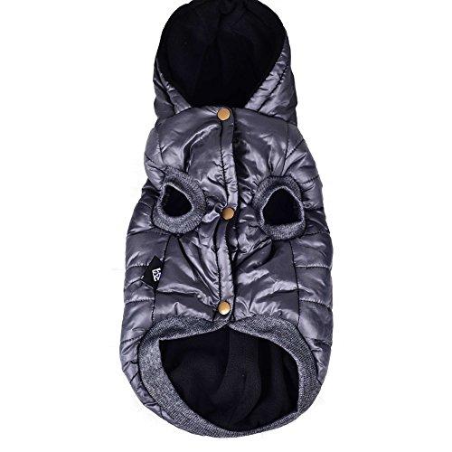 SUPEREX® Baumwollejacke Pet Coat Jacket Costüm Hundemantel Hundepullover Winterjacke Dog Vest für Welpen Hund, Herbst Weste, Winter Vest Warm Padded Hooded Haustier hoody Kleidung Hundebekleidung Hundejacke (Grau,L) (Achten Sie bitte auf die Größe) - 3