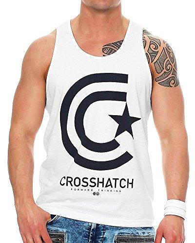 Crosshatch Herren Tank Top Kimmel mit Frontprint White