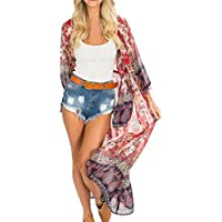Batas y kimonos para mujer, Tops Cardigan Chal de Gasa Kimono Impresos Encubrir Blusa irregular raya Mantón kimono Cardigan Tops cubre para de abrigo de Bohemia floral gasa manga flare