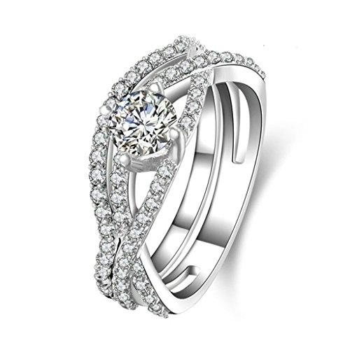 Aienid Ring Silber Damen Breit Anpassbare Ring Twining Design Doppelt Ring Trauung Size:56 (17.8) -