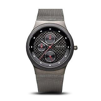 Bering Ceramic – Reloj analógico de caballero de cuarzo con correa de acero inoxidable negra – sumergible a 50 metros
