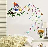 ufengke® Notes Musicales Heureux Beaux Oiseaux Chantent Sur Les Branches Stickers Muraux, la Chambre des Enfants Pépinière Autocollants Amovibles