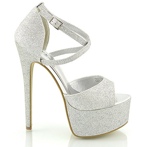 ESSEX GLAM Sandalo Donna Peep Toe con Lacci Plateau Tacco a Spillo Alto (UK 6 / EU 39 / US 8, Argento Glitter)