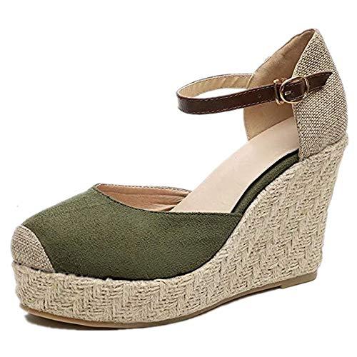 b8ad82f4 Sandalias Mujer Cuña, Verano Plataforma Punta Cerradas Bohemias Zapatos De  Tacón Alto Alpargatas De Playa