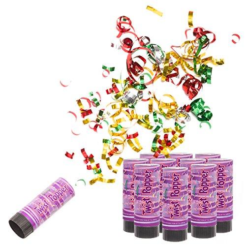 12x Konfetti-Shooter Party Colors BUNT - Party Popper Konfettikanone Konfetti Regen für Silvester, Hochzeit, Party, Geburtstag & Co.