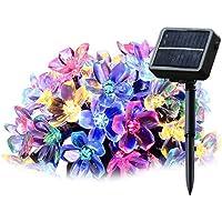 Salcar Solar LED Cadena de luz, 5 m, 20 ledes Multicolores de Flores de