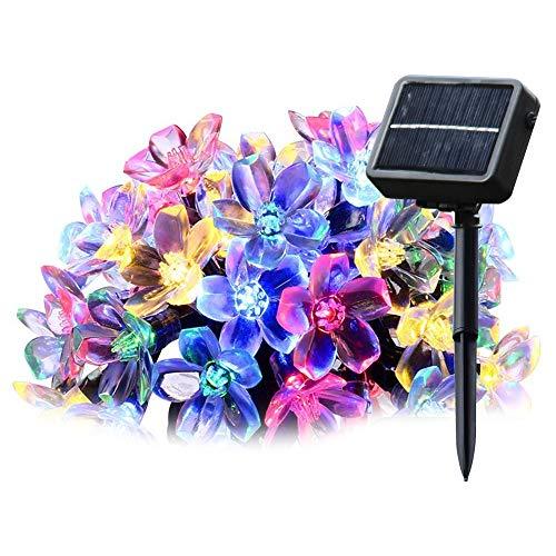 Salcar Solar LED Lichterkette 5m 20 LEDs Bunten Kirschblüten Deko Beleuchtung Dekoration für Haushalt, Außen, Garten, Hochzeit, Weihnachten - Mehrfarbig