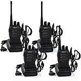 Upgrow 4x Baofeng BF-888s Funkgeräte Set Walkie Talkies Funksprechgeräte 16 Kanäle 5KM Reichweite CTCSS/DCS 400-470MHz Radio Handfunkgerät Mit Wiederaufladbare Akkus und Ladegerät (4* Funkgeräte mit Headset)