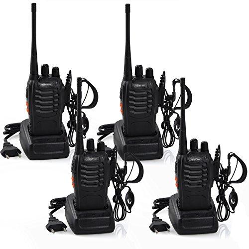 4x Walkie Talkies Set Wiederaufladbare Funkgeräte Set 16 Kanäle Handfunkgerät Mit Wiederaufladbar Akkus und Funkgeräte mit Headset