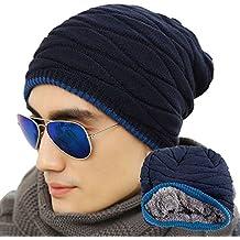 Eizur Uomo morbido foderato Maglia Cappello Beanie Inverno Thick Caldo Slouchy Berretto--Blu navy