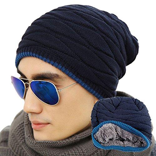 eizur-uomo-morbido-foderato-maglia-cappello-beanie-inverno-thick-caldo-slouchy-berretto-blu-navy