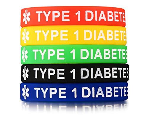 PJ JEWELRY 5 Silikonkautschuk Typ 1 Diabetes Medical Alert ID Armband Notfall Armbänder,5 Farben (Typ-1-diabetes-schmuck)
