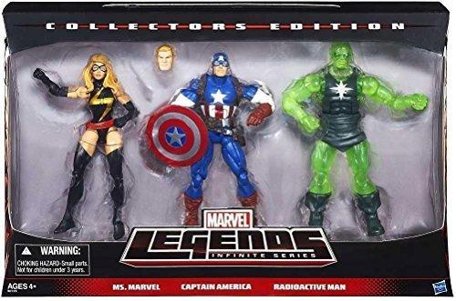Marvel Legends Infinite Collectors Edition 3 Pack Ms. Marvel, Captain America & Radioactive Man (Captain Marvel America-ms)