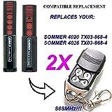 2x Sommer 4020TX03–868–4Kompatibel 868,8MHz Fernbedienung Ersatz, 868,8MHz. TOP QUALITÄT Slider Transmitter. 100% kompatibel mit 868,8MHz Sommer-Fernbedienung. Rolling Code.