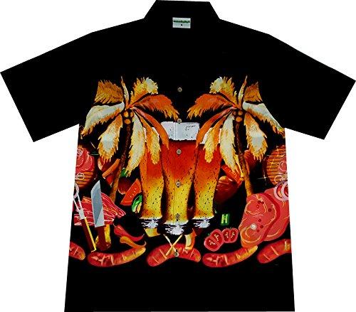 Hawaiihemdnet Hawaiihemd/Hawaii Hemd Bier und Tier Beer/BBQ/Fleisch/Grillhemd,Schwarz,L (Bbq Tiere)