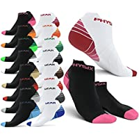 Physix Gear Sport Compression Running Socks for Men & Women - Best Athletic Low Cut Socks with No Show Ankle Design - Premium Quality Stitching All Day Comfort - Boost Stamina Circulation & Recovery