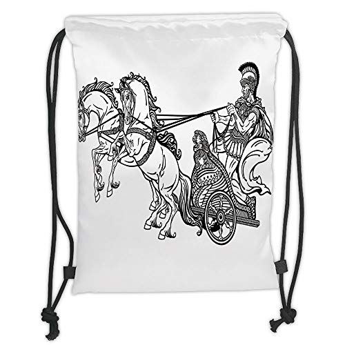Drawstring Backpacks Bags,Toga Party,Roman Warrior in a Chariot Pulled by Two Horses Historic Carriage Monochrome Decorative,Black White Soft Satin,5 Liter Capacity,Adjustable ()