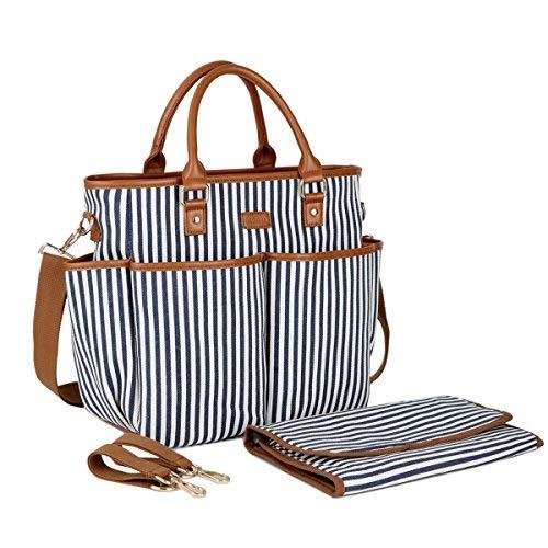 BAOSHA MY-01 Canvas Baby Wickeltasche mit Wickelauflage Isolierte Tasche und Kinderwagenbefestigung(Blaue Streifen) -
