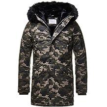 EightyFive Herren Winter-Parka Winterjacke Kunstfell Kapuze Gefüttert  Teddyfell Schwarz Khaki Beige Camouflage EF1720 8cd75b37e4