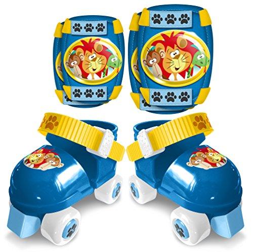Stamp JB130321 Kinder-Rollschuhe + Knie- und Ellenbogenschützer, Unisex, Blau, Größe: 23bis27
