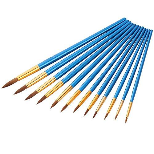 12 Stück Künstlerpinsel feine Pinsel für Acryl Aquarell Ölmalerei, Blau