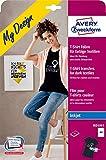 AVERY Zweckform MD1003 4 Textilfolien (für farbige Textilien, DIN A4, bedruckbare T-Shirt Folie zum Aufbügeln, Transferfolie für Inkjet-/Tintenstrahldrucker, Bügelfolie)