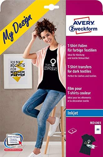 AVERY Zweckform MD1003 4 Textilfolien (für farbige Textilien, DIN A4, bedruckbare T-Shirt Folie zum Aufbügeln, Transferfolie für Inkjet-/Tintenstrahldrucker, Bügelfolie) -