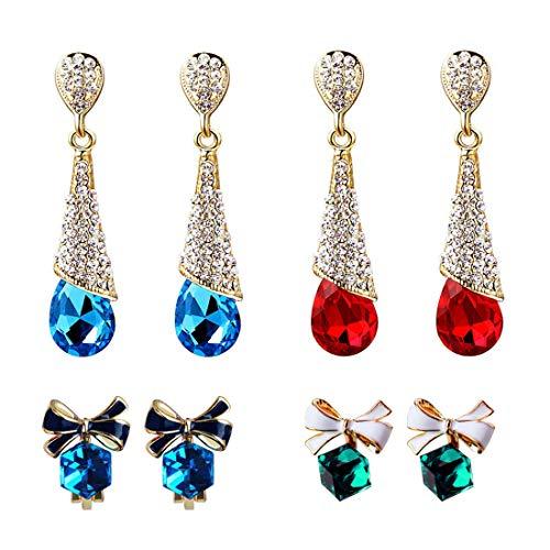 EQLEF Ohrstecker ohrclip kristall, Non Pierced Ohrringe Drop / Cubic Kristall Ohrstecker Clips Bogen für Damen auf Hochzeit und Freizeit Tragen (4 Paar)