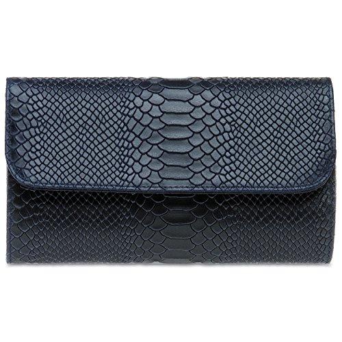 CASPAR TL722 Damen echt Leder Envelope Clutch Tasche Abendtasche mit Kroko Prägung, Farbe:dunkelblau;Größe:One Size