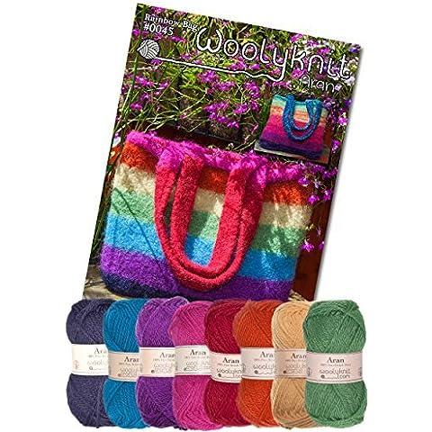 Arcobaleno Borsa a mano maglia Confezione. Lana e Pattern (Arcobaleno Lana)