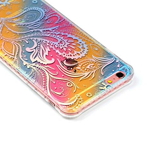 """Protecteur étui pour Apple iPhone 6Plus/6sPlus 5.5""""(NON iPhone 6/6s 4.7""""), CLTPY Mode Beau Arc en Ciel Plating Impression Peint Motif Case en Souple Caoutchouc Ultra Fine Slim Transparente Bumper Shel Fleur Pteris"""