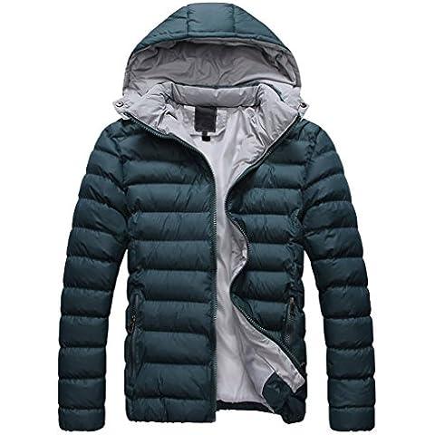 SODIAL (R) 2015 Uomo Cappotto Piumino di inverno cappotto Piumino da uomo caldo con cappuccio verde M