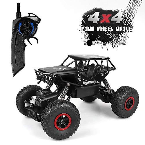 Rabing Voitures RC, Camion à chenilles pour véhicules tout terrain à la rocaille 2.4Ghz 4WD haute vitesse 1:14 Radio Télécommande Voitures de course Électrique Fast Race Buggy Hobby Car (Noir)