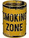 Aschenbecher Metall Sturmaschenbecher Windaschenbecher für Drinnen und Draussen »Ölfass« SMOKING (SMOKING ZONE Gelb)
