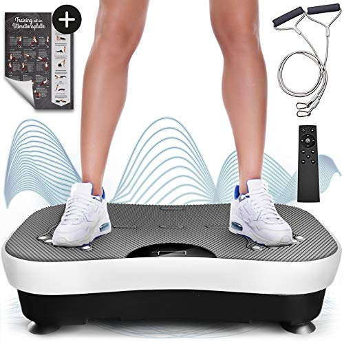Sportstech Vibrationsplatte VP210 mit Bluetooth, Oszillationstechnologie für zu Hause, Magnet Fußreflexzonenmassage Funktion, Trainingsbändern + Fernbedienung + Lautsprecher im Vibrationsgerät - Schmerzen Im Knie Band