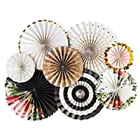 Party Propz Botanical Double Sided Party Fans - Set of 8 Fans For Birthday, Wedding, Bridal Shower Or Baby Shower Decoration