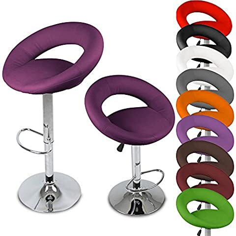 Miadomodo Ergonomic Bar Chairs Set of 2 Height Adjustable Stools Purple Home Dining Furniture