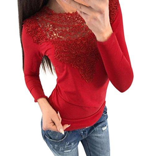 Bekleidung Kolylong® Damen Elegant V-Ausschnitt Spitze Blusen Vintage Schulterfrei Sweatshirt Festliche Oberteile Langarm Shirt Spitzenbluse Slim Fit Basic Shirt Pullover Pulli Top (Rot-b, XL) (Shirts Rote Blume)