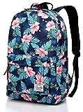 Blumen Rucksack, Vaschy Leichte Daypack Damen Schulrucksack für Teenager Mädchen Reisetaschen passend für 15.6 Zoll Laptop