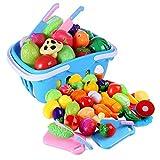 LVPY Spiellebensmittel-Set aus Kunststoff Obst Gemüse, 37-TLG Lebensmittel Küche Kinder Pädagogisches Lernen Spielzeug Rollenspiele, Schneiden, Küchenzubehör