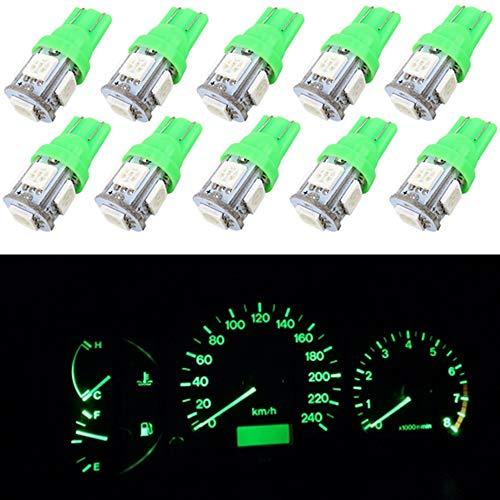 WLJH T10 5-smd 5050 ampoules LED W5 W 168 158 194 192 pour auto dôme carte Trunk Instrument Panel de plaque d'immatriculation lumières genoux (10, Vert)