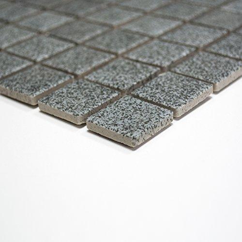 Rutschhemmend R10 Bodenfliesen Mosaik Keramikmosaik für Bäder / Duschen (klein, steingrau-uni)