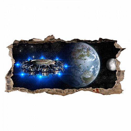 nikima - 067 Wandtattoo Alien Raumschiff - Loch in der Wand - Teenager Raumstation Weltall Galaxie - in 6 Größen - Kinderzimmer Sticker Wandaufkleber coole Wandsticker Wanddeko Wandbild Junge Größe 1500 x 750 mm -