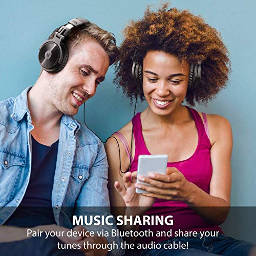 OneOdio Bluetooth Kopfhörer, Kabellos Over Ear Headset mit abnehmbare Mikrofon & Dual 50mm Treiber, 30 Stunden Spielzeit, DJ Kopfhörer (mit abnehmbare Mikrofon, Schwarz Rot) - 7