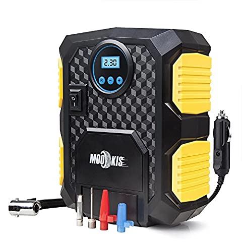 Mookis Compresseur d'air Portable Digital, Glonfleur Pneu Electrique 12V voiture Allume Cigare, Pompe à 150 Psi avec 3M Câble Noir Pour Auto Moto Vélo Ballons de sport