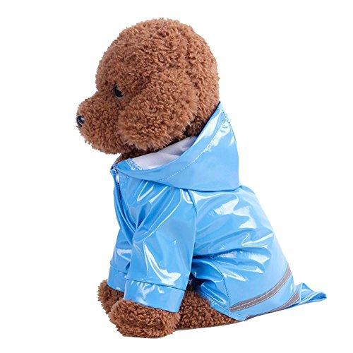Haustier Hund Hooded Regenmantel Haustier Brustschutz Wasserdichte Welpen Hund Jacke Outdoor Mantel für große und mittlere (M, Blau)