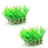 GOOTRADES 20 Stk Künstliche Plastik Grün Gras Wasserpflanzen