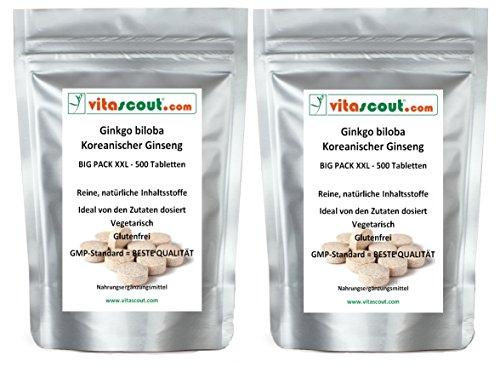1000 vegetarische Tabletten - Ginkgo biloba & Panax Koreanischer Ginseng - Formula-MIX-Extrakt entspricht 4000mg - HOCHDOSIERT - PREMIUMQUALIÄT - PN: 0101028