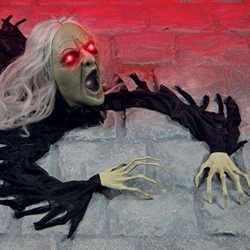Halloween Grusel Hexe Zombie, batteriebetrieben, mit Licht, Sound und Bewegung, 93cm