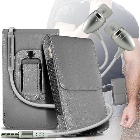 (Grey) Samsung Galaxy Light Protective PU Leather Belt Holster Pouch Case Cover Holder E di qualità Premium in Ear Buds mani Stereo Headset gratuita Cuffie con microfono incorporato Mic e On-Off Button By Spyrox